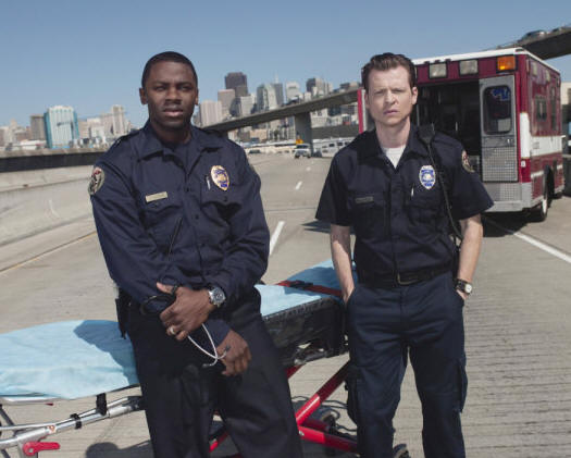 TRAUMA -- Pictured: (l-r) Derek Luke as Boone, Kevin Rankin as Tyler -- NBC Photo: Mitchell Haaseth