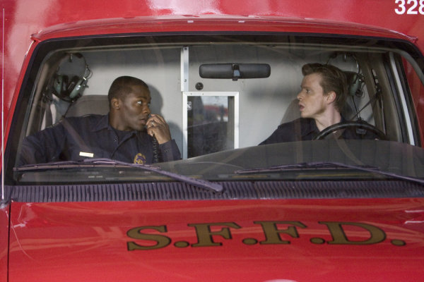 "TRAUMA -- ""Pilot"" Episode 101 -- Pictured:(l-r) Derek Luke as Cameron Boone, Kevin Rankin as Tyler Briggs -- NBC Photo: Paul Drinkwater"