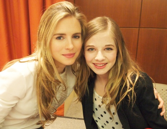 "Brit Marling and Jackie Evancho at the New York press conference for ""The Company You Keep"" - Le Parker Meridien Hotel, April 1, 2013"