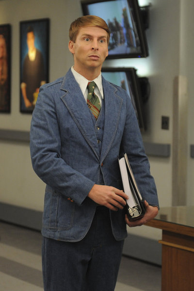 "30 ROCK -- ""Standards and Practices"" Episode 611 -- Pictured: Jack McBrayer as Kenneth Parcell -- (Photo by: Ali Goldstein/NBC)"