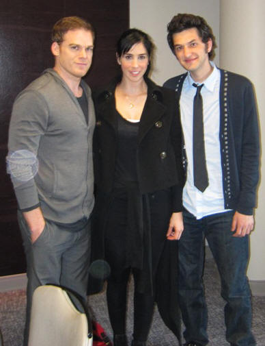 Michael C. Hall, Sarah Silverman and Ben Schwartz at the PEEP WORLD press day at the Andaz Hotel, West Hollywood, CA on March 8, 2011.
