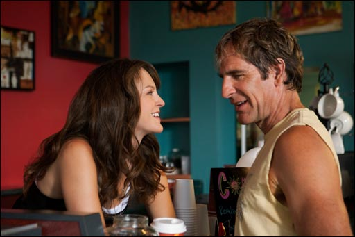 Carla Gallo and Scott Bakula in MEN OF A CERTAIN AGE.