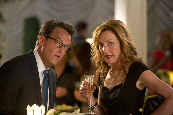 "GO ON -- ""TBD"" Episode 106 -- Pictured: (l-r) Matthew Perry as Ryan, Julie White as Anne -- (Photo by: Justin Lubin/NBC)"