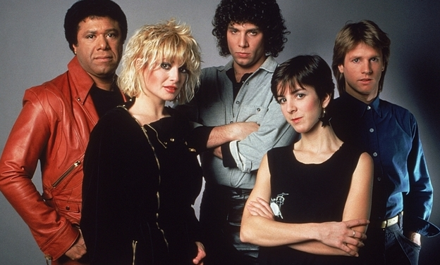 Original MTV VJs: (l to r:) JJ Jackson, Nina Blackwood, Mark Goodman, Martha Quinn and Alan Hunter.