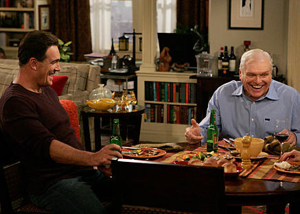 """Dad's Visit"" -- Much to Audrey's dismay, Roy (Brian Dennehy, right), Jeff's (Patrick Warburton, left) chauvinist father extends his visit after spraining his ankle, on RULES OF ENGAGEMENT, Monday, March 23 (9:30-10:00 PM, ET/PT) on the CBS Television Network. Photo: Monty Brinton/CBS �2008 CBS Broadcasting Inc. All Rights Reserved."