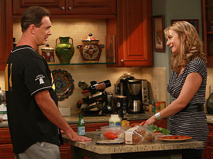 """Dad's Visit"" -- Much to Audrey's (Megyn Price) dismay, Jeff's (Patrick Warburton) old-fashioned father extends his visit after an injury makes him immobile, on RULES OF ENGAGEMENT, Monday, March 23 (9:30-10:00 PM, ET/PT) on the CBS Television Network. Photo: Monty Brinton/CBS �2008 CBS Broadcasting Inc. All Rights Reserved."