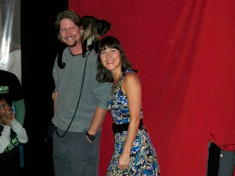 Mizuo Peck, Crystal the Monkey and her trainer at the Night at the Wax Museum exhibit at Madame Tussaud's in New York, NY on December 1, 2009.