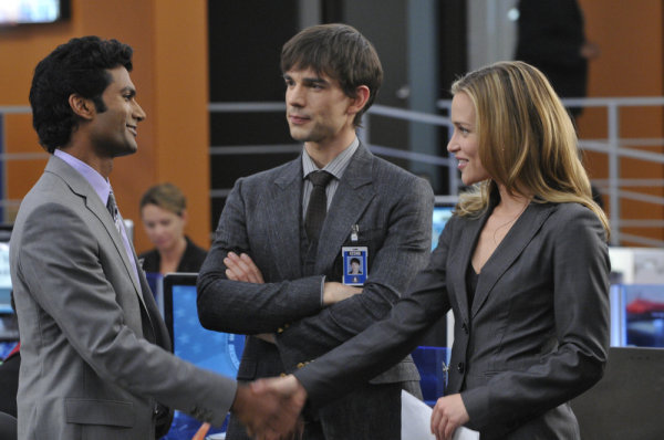 "COVERT AFFAIRS -- ""Walter's Walk"" Episode 102 -- Pictured: (l-r) Sendhil Ramamurthy as Jai Wilcox, Christopher Gorham as Auggie Anderson, Piper Perabo as Annie Walker -- Photo by: Steve Wilkie/USA"