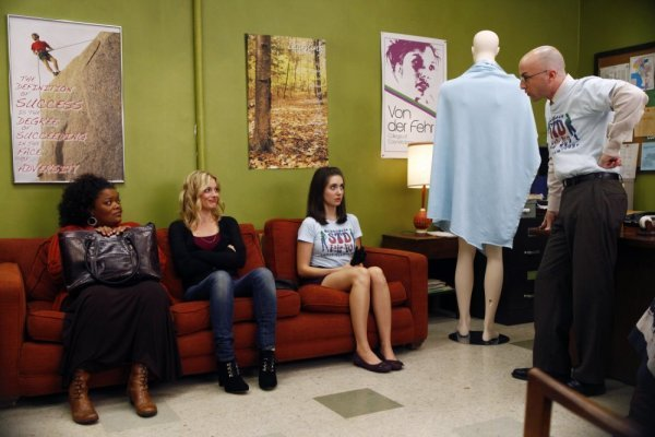 "COMMUNITY -- ""The Politics of Human Sexuality"" Episode 110 -- Pictured: (l-r) Yvette Nicole Brown as Shirley, Gillian Jacobs as Britta, Alison Brie as Annie, Jim Rash as Dean Pelton -- NBC Photo: Trae Patton"