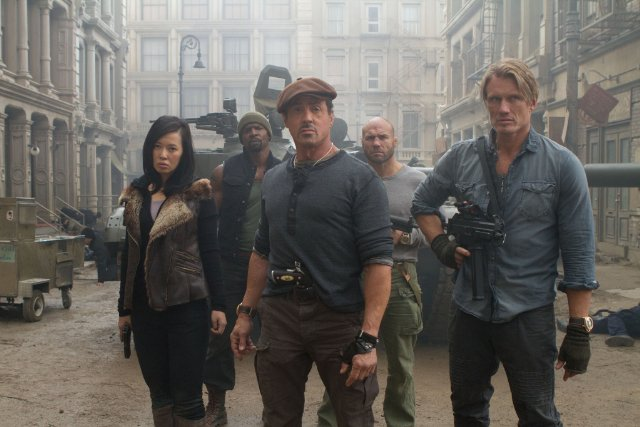 Nan Yu, Terry Crews, Sylvester Stallone, Randy Couture and Dolph Lundgren in THE EXPENDABLES 2