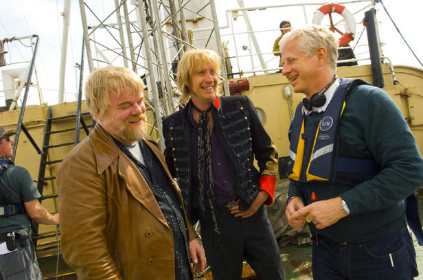 Philip Seymour Hoffman, Rhys Ifans and Richard Curtis making 'Pirate Radio.'
