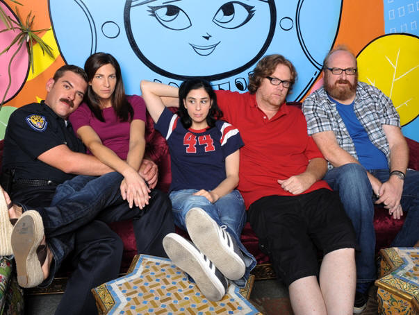The Sarah Silverman Program: (l-r): Jay Johnston, Laura Silverman, Sarah Silverman, Steve Agee, Brian Posehn