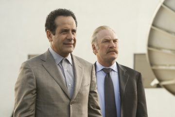 "MONK -- ""Mr.Monk's Favorite Show"" Episode 8001 -- Pictured: (l-r) Tony Shalhoub as Adrian Monk, Ted Levine as Capt. Leland Stottlemeyer -- USA Network Photo: Vivian Zink"