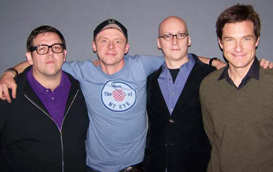 Nick Frost, Simon Pegg, Greg Mottola and Jason Bateman at the New York press day for PAUL.