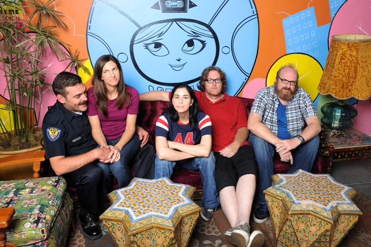 The Sarah Silverman Program: (l. to r.) Jay Johnston, Laura Silverman, Sarah Silverman, Steve Agee, Brian Posehn