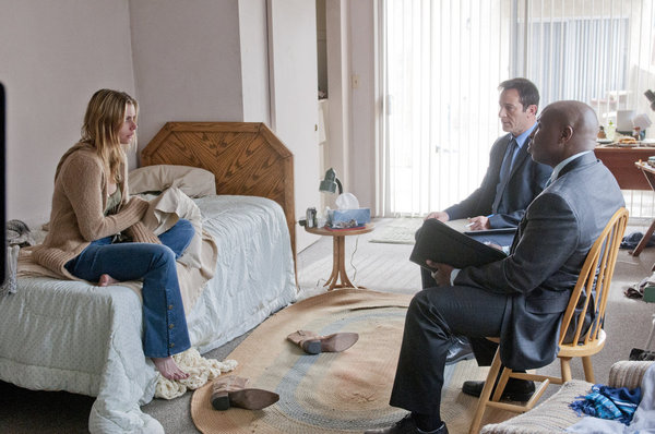 "AWAKE -- ""Kate Is Enough"" Episode 108 -- Pictured: (l-r) Brianna Brown as Poor Kate, Jason Isaacs as Michael Britten, Steve Harris as Bird -- Photo by: Neil Jacobs/NBC"