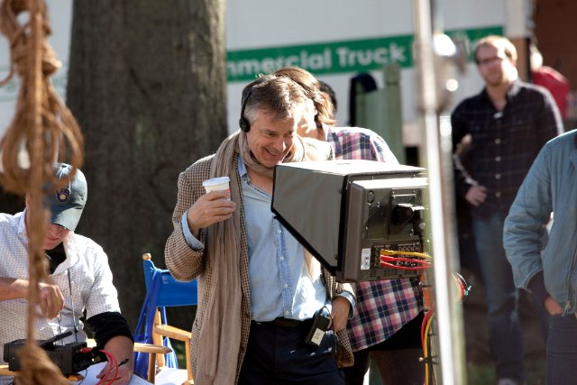 "Whit Stillman on the set of ""Damsels in Distress."""