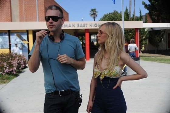 Director Abe Sylvia and Juno Temple making DIRTY GIRL.
