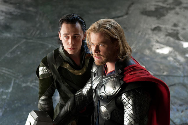Tom Hiddleston and Chris Hemsworth in THOR.