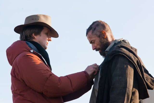 Director Tom Hooper with Hugh Jackman on the set of 'Les Misérables.'