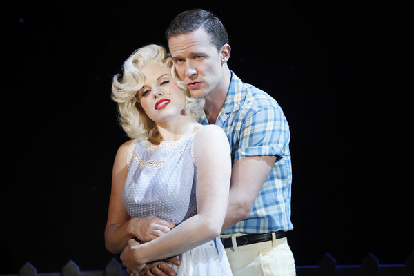 "SMASH -- ""Mr. DiMaggio"" Episode 103 -- Pictured: (l-r) Megan Hilty as Ivy Lynn (as Marilyn Monroe), Will Chase as Michael Swift (as Joe DiMaggio) -- Photo by: Will Hart/NBC"