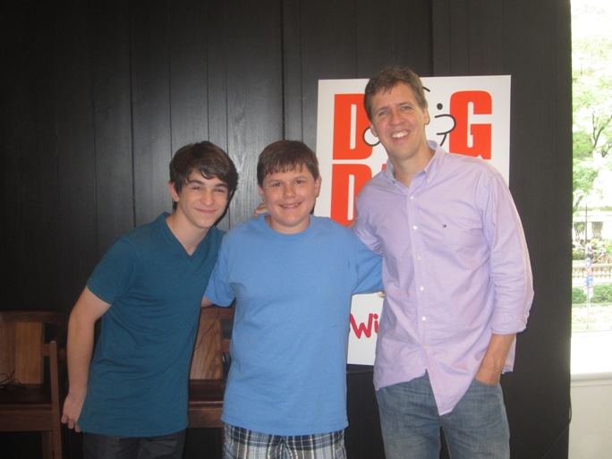 Zachary Gordon, Robert Capron and Jeff Kinney at the New York Press Day for Diary of a Wimpy Kid: Dog Days at the Andaz Hotel in New York, July 30, 2012.