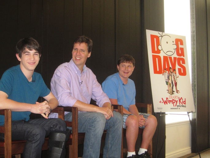 Zachary Gordon, Jeff Kinney and Robert Capron at the New York Press Day for Diary of a Wimpy Kid: Dog Days at the Andaz Hotel in New York, July 30, 2012.